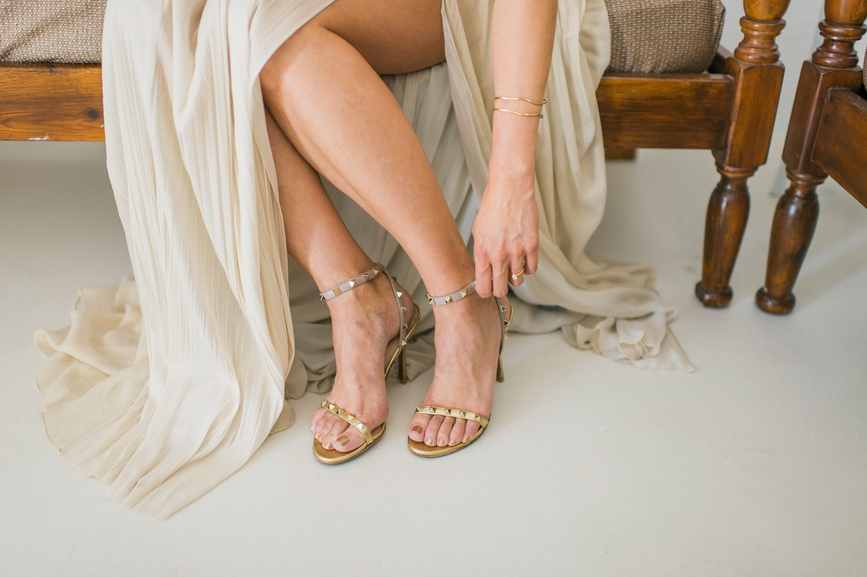 Hellenic Chic Elopement golden shoes