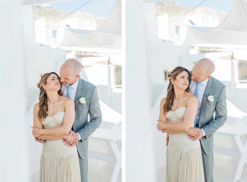 Hellenic Chic Elopement couple kissing in Santorini
