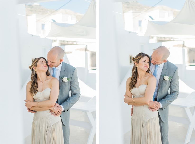 Hellenic Chic Elopement couple kissing in Santorini