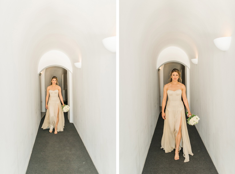 Hellenic Chic Elopement bride with golden dress