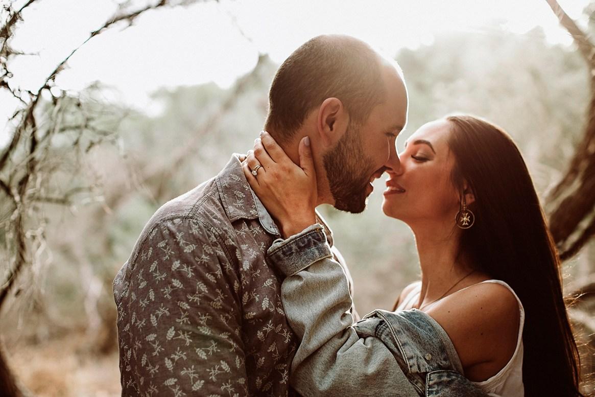 Alexis Coronabride and Gabriel Engagement shoot kissing Coronabride