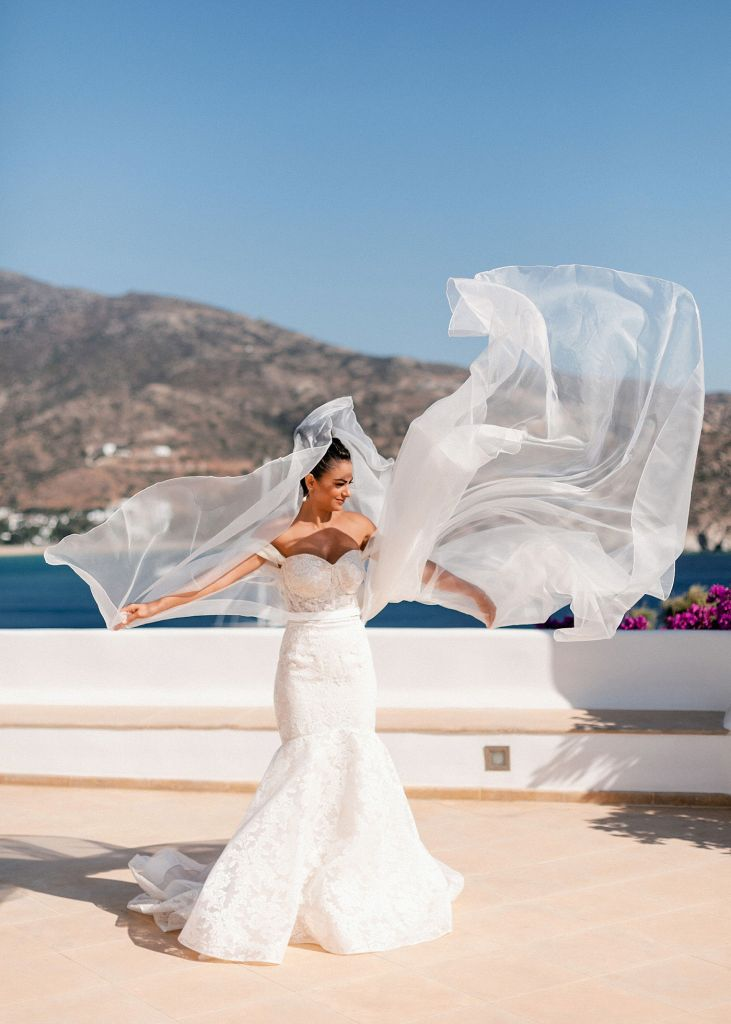 bride with the vail in the wind