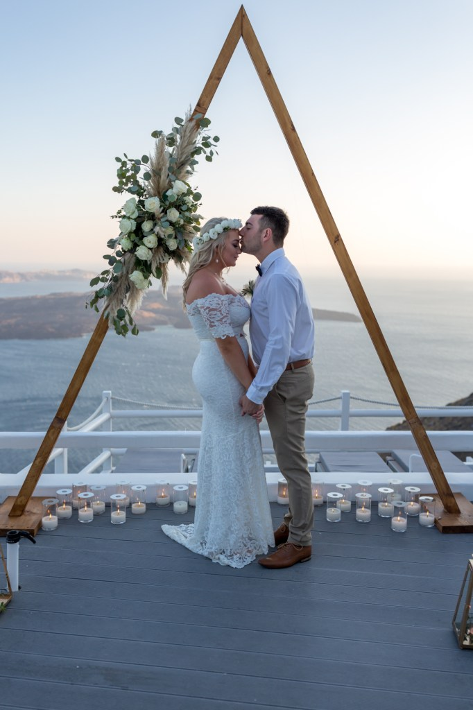 Dreamy Budget Elopement Santorini Bride and Groom at their wedding