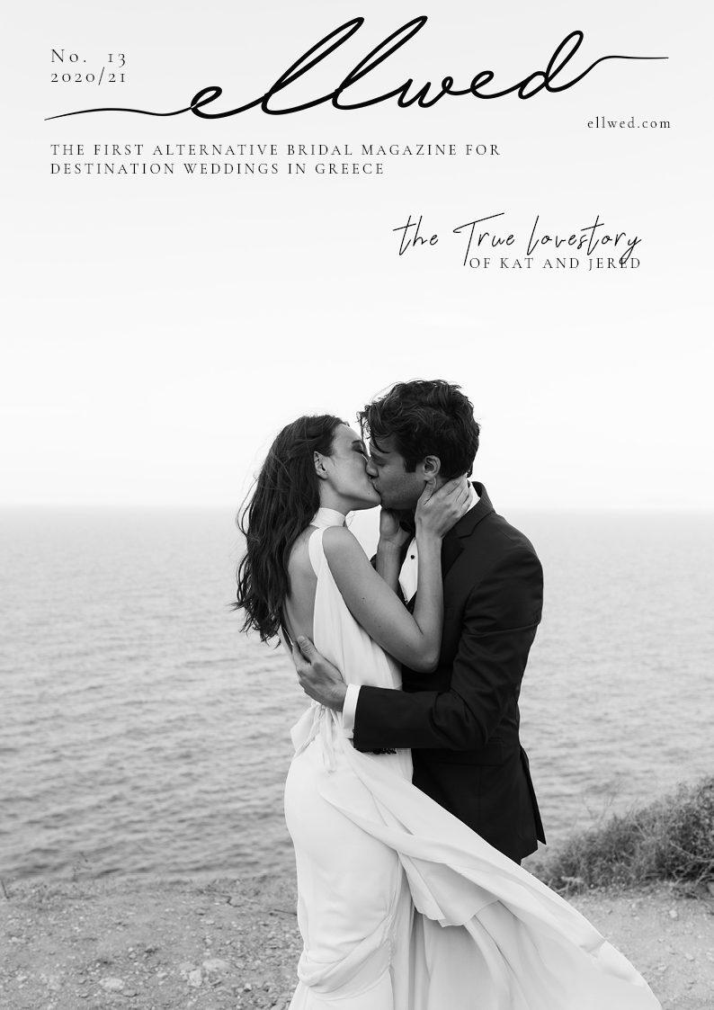 Cover of Ellwed Bridal Magazine with a real couple in love kissing on the Greek Island