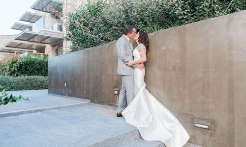 Couple kissing at Dreamy Micro Destination Wedding in Sivota