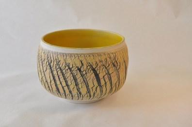 Keramik skål med gule detaljer - Elly Pedersen Keramik