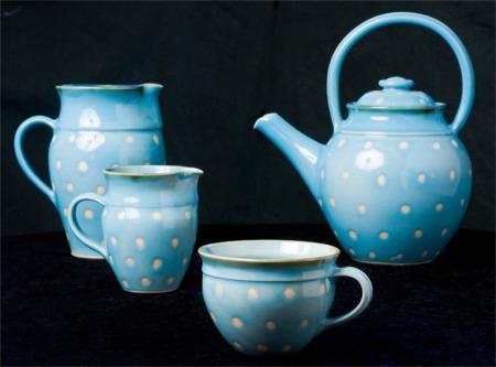 Blåt kaffestel med prikker - Elly Pedersen Keramik