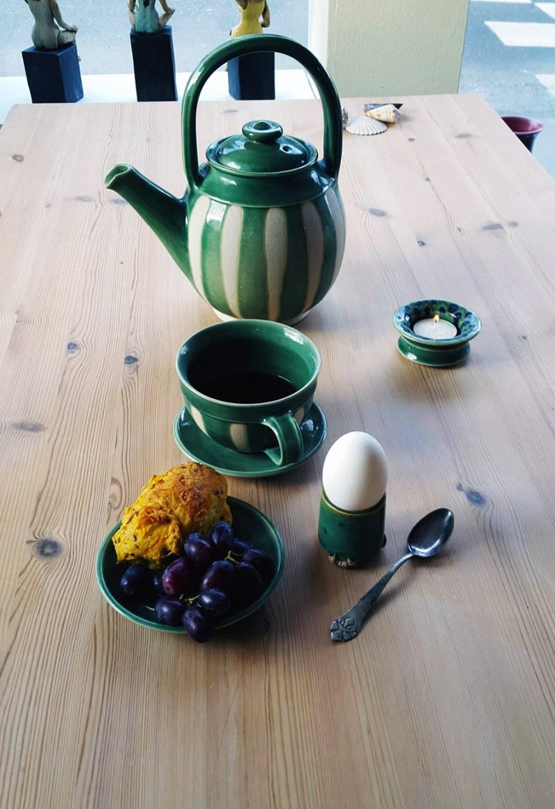 Grønt keramik stel - Elly Pedersen Keramik