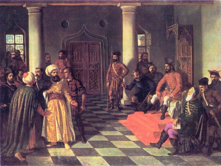 عمل فني يمثل البعثة العثمانية امام فلاد الثالث بالقبعات