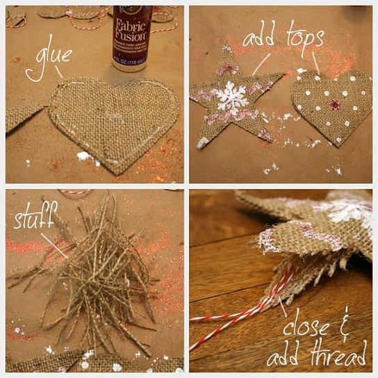 Como hacer adornos navideos con yute