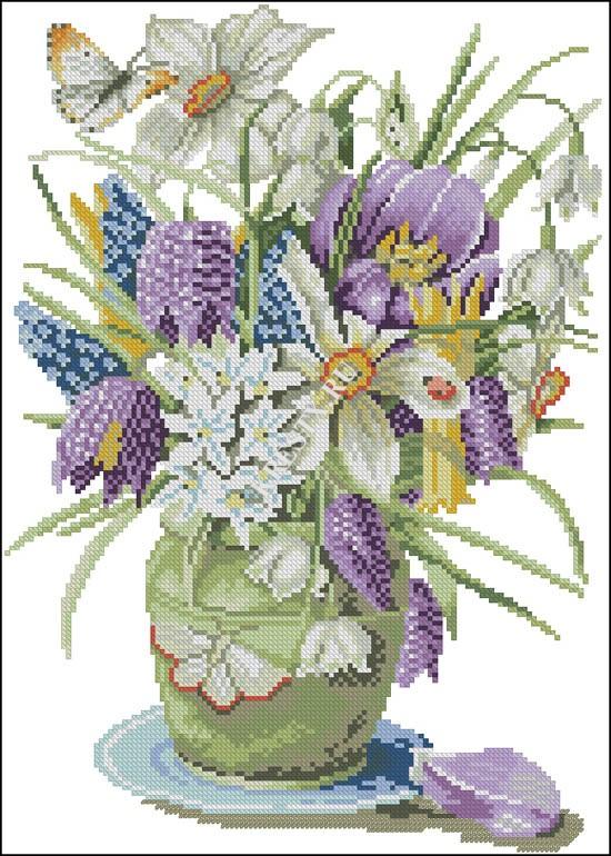 ideas de flores en punto de cruz