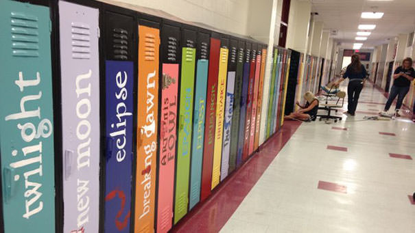 "School Paints Lockers As Book Spines To Create An ""Avenue Of Literature"""