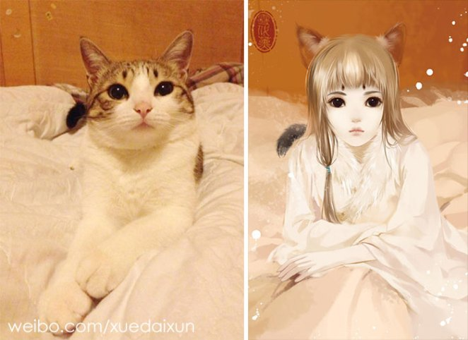 Chinese Artist Creates Human Version Of Adorable Kittens