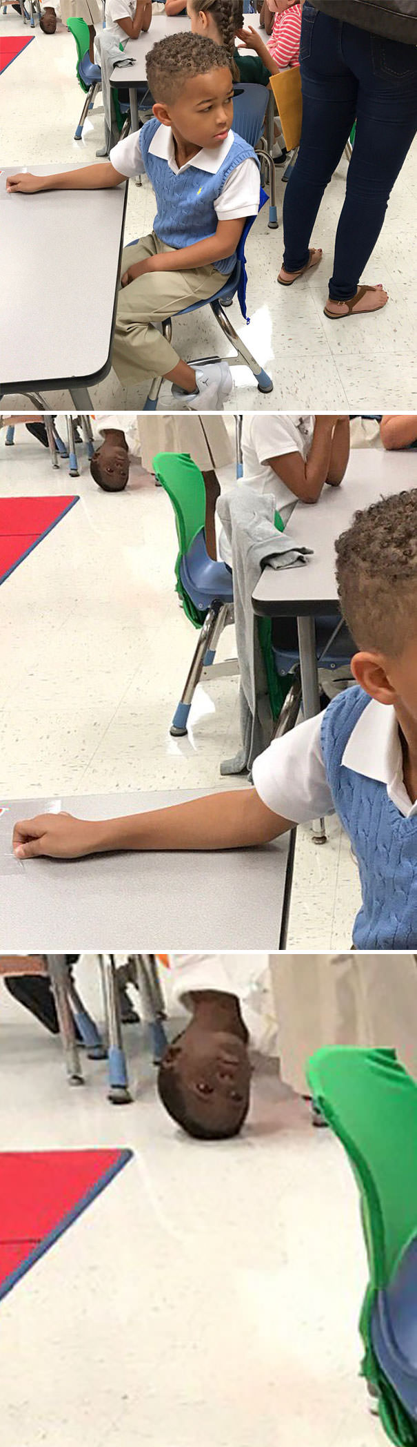My Sister Was Taking Pictures Of My Nephew At School And The Little Guy In The Back Looks Miserable