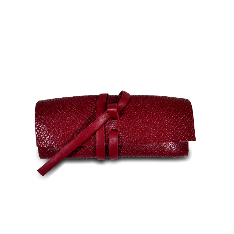 red leather eyeglass case