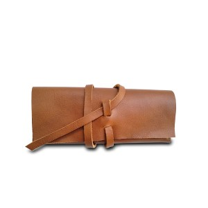 caramel leather eyeglass case