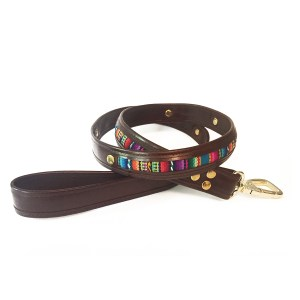 leather-textile dog leash