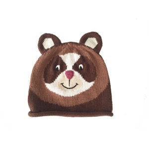 Spectacle Bear Hat Brown Cotton