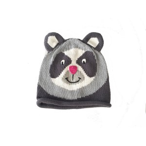 Spectacle Bear Hat Grey Cotton