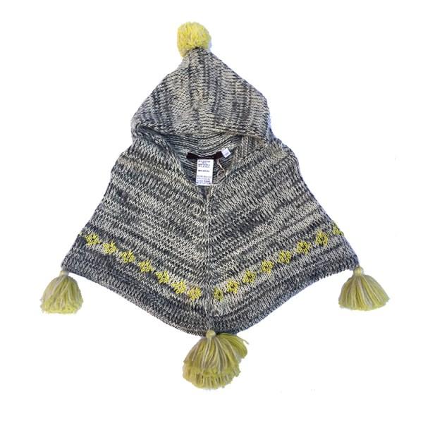 Baby Poncho Tassels- Marled Alpaca/Cotton