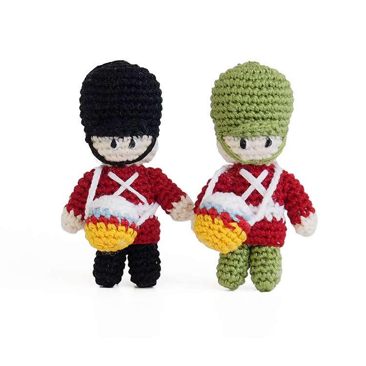 Crocheted soldier ornaments set 3