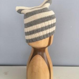 Michi Cat Ear beanie- BK Stripes Alpaca