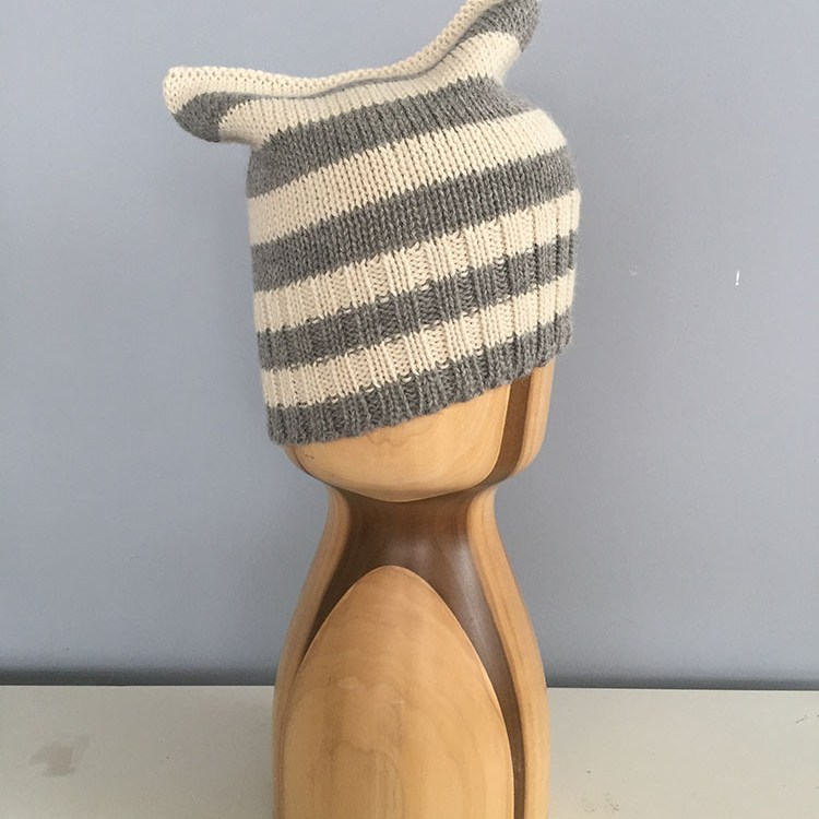 Michi Cat Ear beanie- BK Stripes Alpaca
