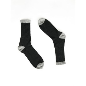 Solid black contrast toe & heel Alpaca Wool Socks