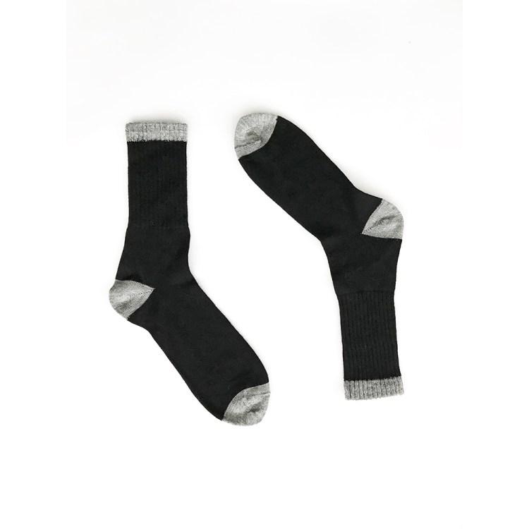 Solid black contrast toe & heel Alpaca Wool Socks