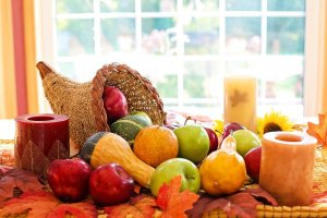 thanksgiving, cornucopia, fruit