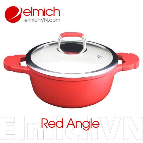 Xoong đỏ Elmich Red Angle tráng sứ 20cm