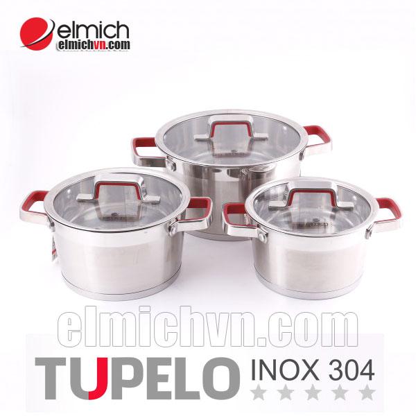 Bộ nồi xoong inox 304 Elmich Tupelo 5 đáy tiêu chuẩn Châu Âu
