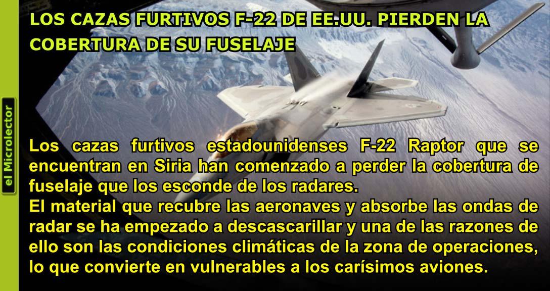 LOS CAZAS FURTIVOS F-22 DE EE.UU. PIERDEN LA COBERTURA DE SU FUSELAJE