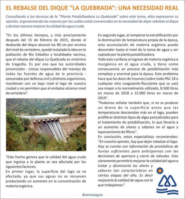 Tras la sequía, desbordó el dique La Quebrada (vídeo) 4