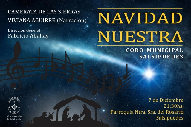 Invitan a disfrutar un coro navideño en Salsipuedes 2