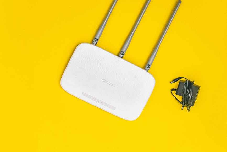 wifi router on yellow background