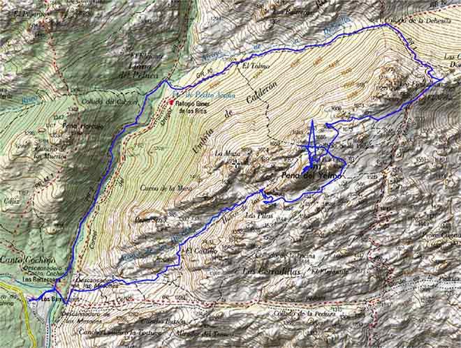 Mapa ruta al Yelmo por el Hueco de las Hoces