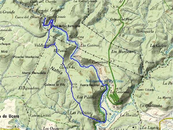 ruta senderismo cañón río lobos Mapa