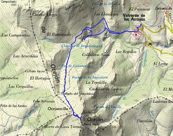 Mapa ruta Pico Ocejón