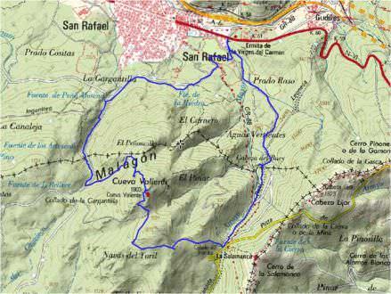 Mapa ruta a Cueva Valiente