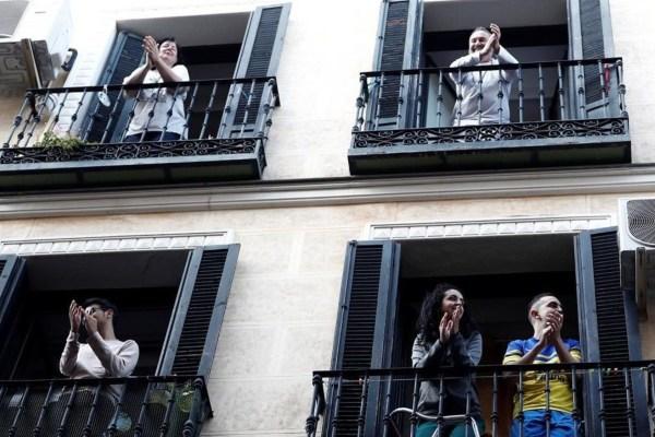 Aplausos confinamiento covid Madrid año