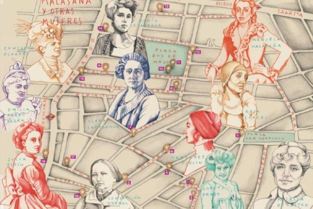 mapa ilustrado mujeres malasaña