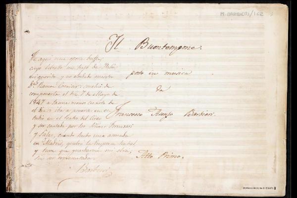 Manuscrito estreno ópera Barbieri