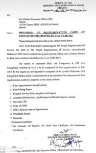 SED 2017 Educators Regularization Files and Notification