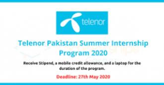 Telenor Paid Internship Program in Summer 2020