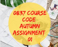 0837 Course Code Autumn Assignment 1