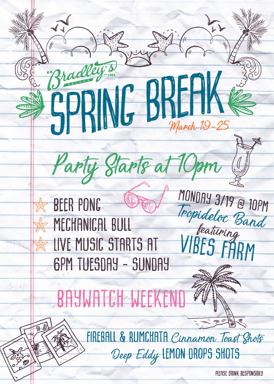 graphic design spring break party fyler for er bradleys by nicole david