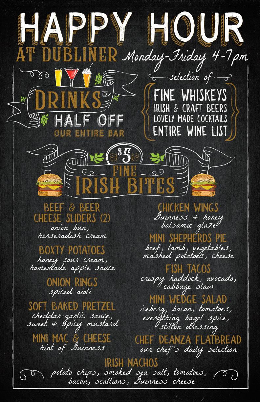 Dubliner Happy Hour Menu
