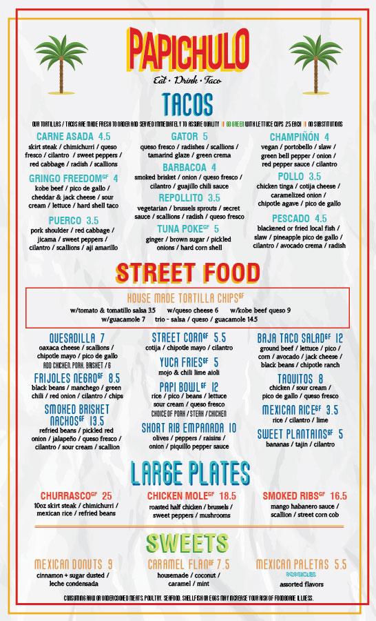 tacos papichulo menu designed by nicole david