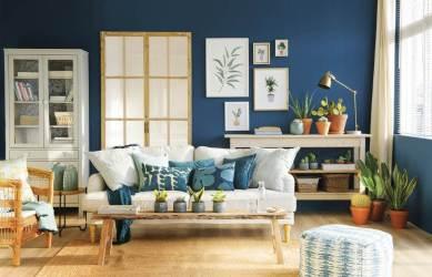 azul blanco colores madera azules pared cojines casa ideen petrol oscuro sofa wohnzimmer revista blanca mesa roma deko salon farbe